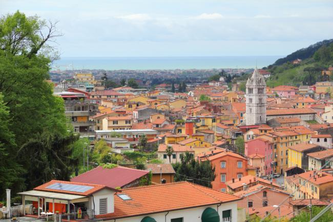 Carrara, Italy - Old Town and Mediterranean Sea.